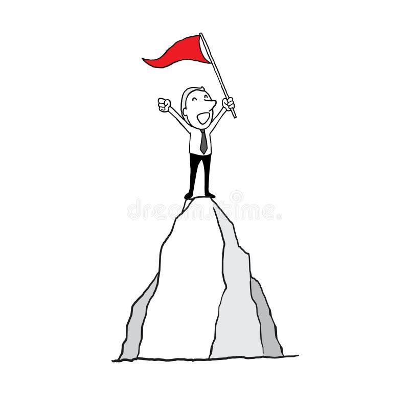 Homme d'affaires se tenant avec l'alerte conquérant le dessus de la montagne concept d'inspiration de succès contour d'isolement  illustration de vecteur