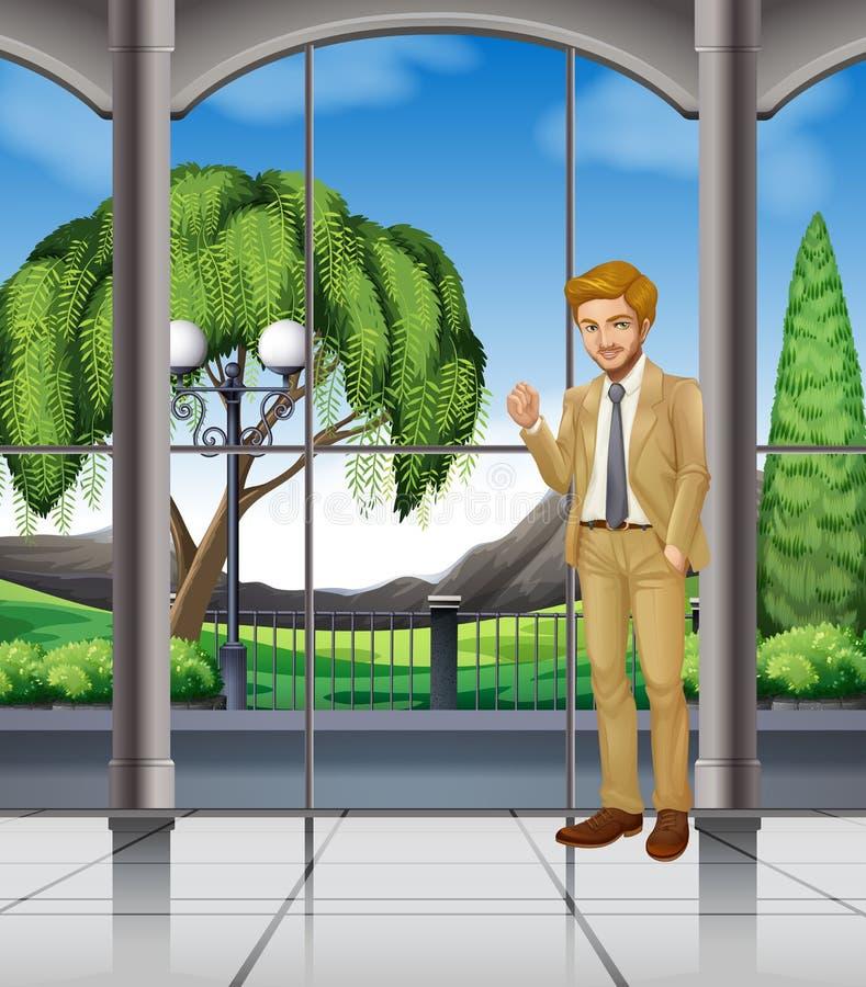Homme d'affaires se tenant dans la chambre avec la vue illustration stock