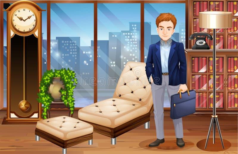 Homme d'affaires se tenant dans le bureau de luxe illustration libre de droits