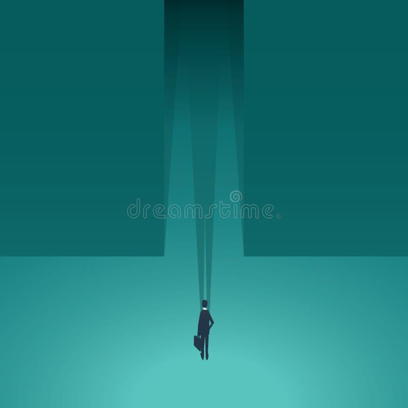 Homme d'affaires se tenant devant le couloir sombre comme symbole d'aventure d'affaires, risque, défi, occasion dedans illustration stock