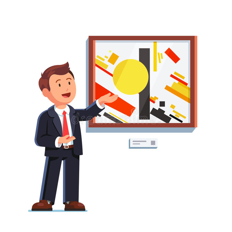 Homme d'affaires se tenant faisant présentant le geste illustration stock