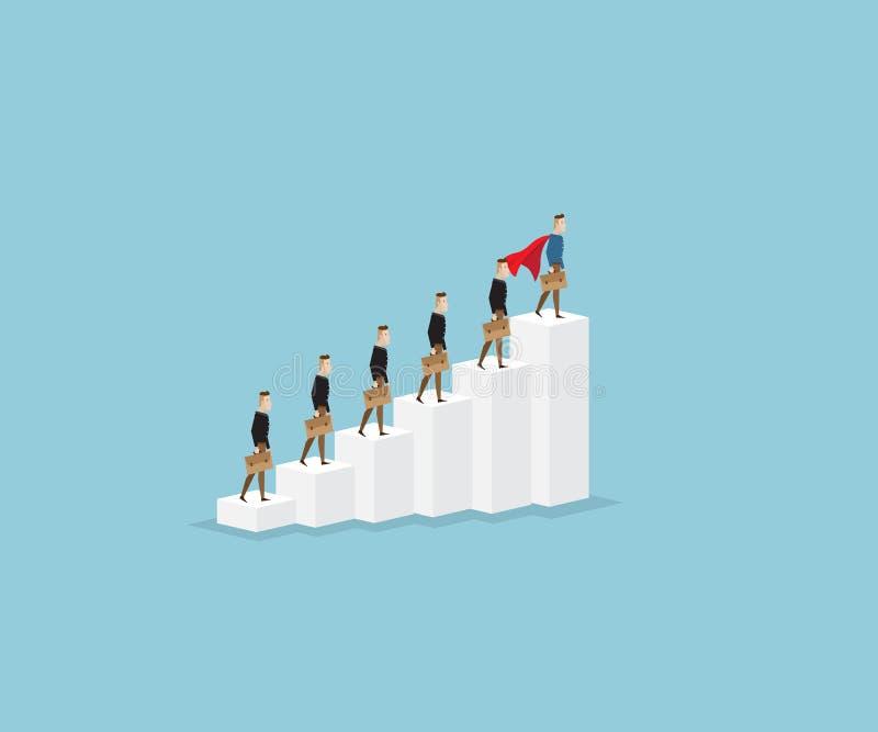 Homme d'affaires se tenant sur des escaliers, concept de chef illustration libre de droits
