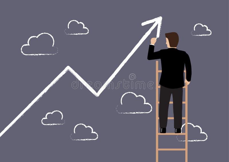Homme d'affaires se tenant sur l'échelle de croissance de dessin d'échelle illustration libre de droits