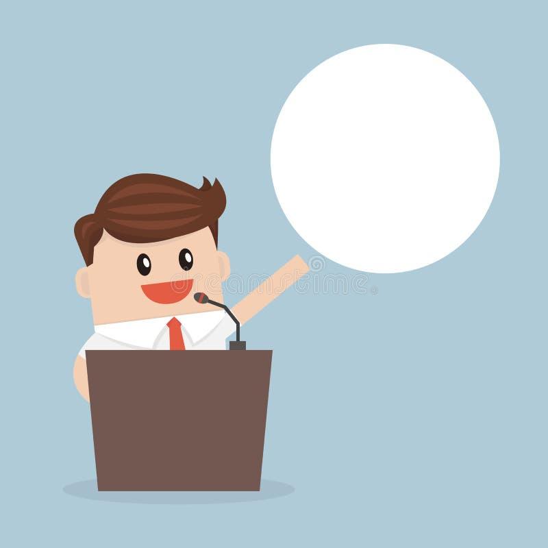 Homme d'affaires se tenant sur le podium, style plat de conception d'illustion de vecteur illustration libre de droits