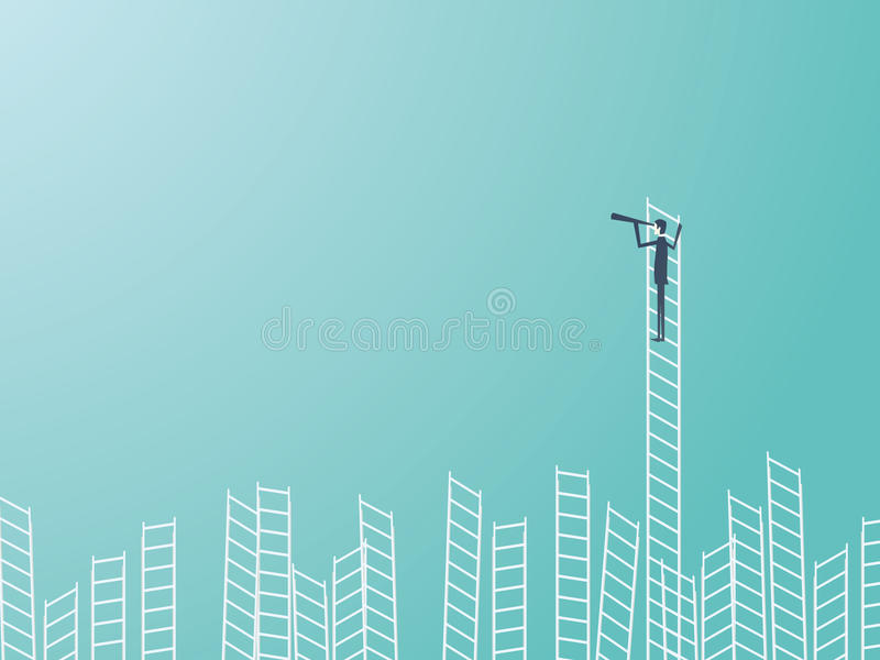 Homme d'affaires se tenant sur une échelle avec un télescope ou un monoculaire Concept de direction d'affaires ou de vecteur de v illustration libre de droits