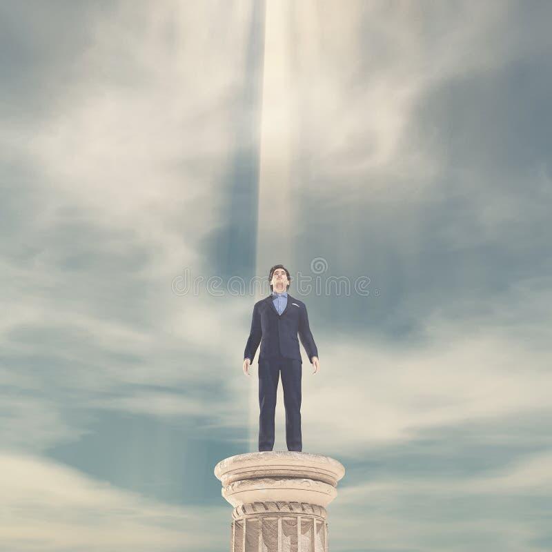 Homme d'affaires se tenant sur une colonne illustration stock