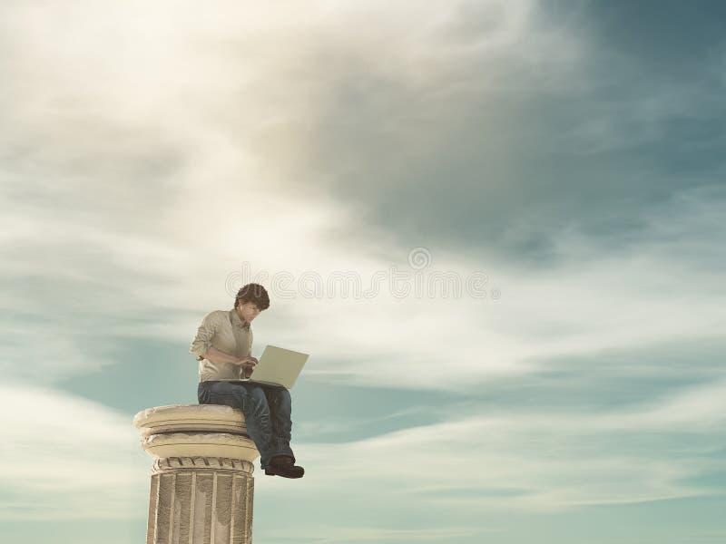 Homme d'affaires se tenant sur une colonne illustration de vecteur