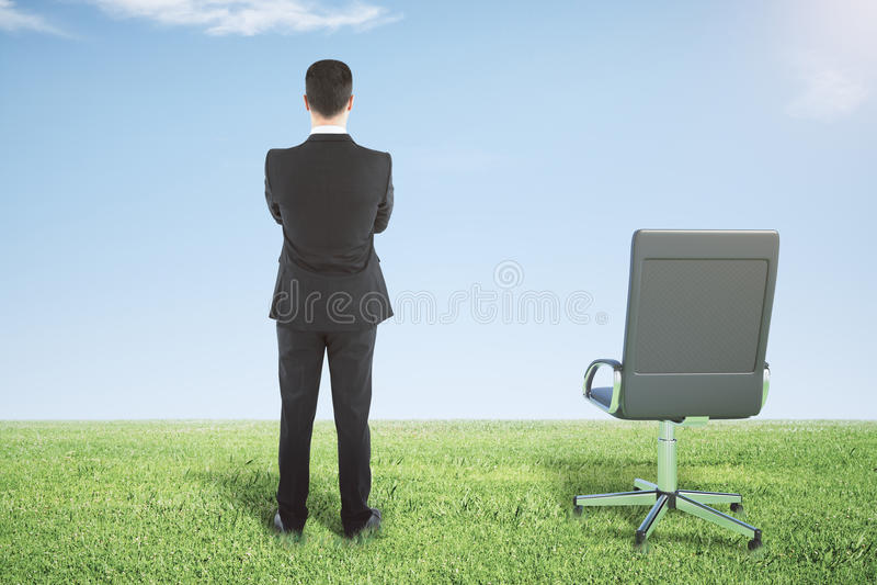 Homme d'affaires se tenant sur une herbe verte et des regards loin image libre de droits