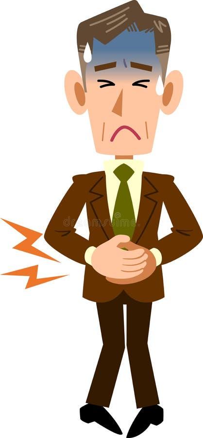 Homme d'affaires serrant l'abdomen dû à la douleur abdominale illustration libre de droits