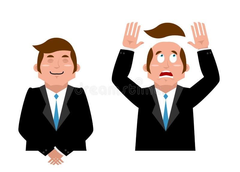 Homme d'affaires Set Homme joyeux dans le costume Homme et perruque Gestionnaire effrayé illustration libre de droits