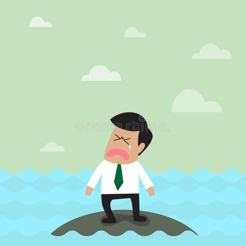 Homme d'affaires seul sur la petite île illustration stock
