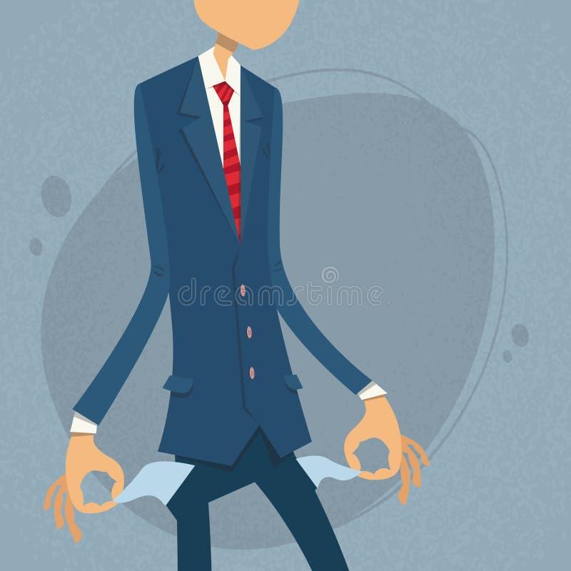 Homme d'affaires Show Empty Pocket, tournant à l'envers illustration stock