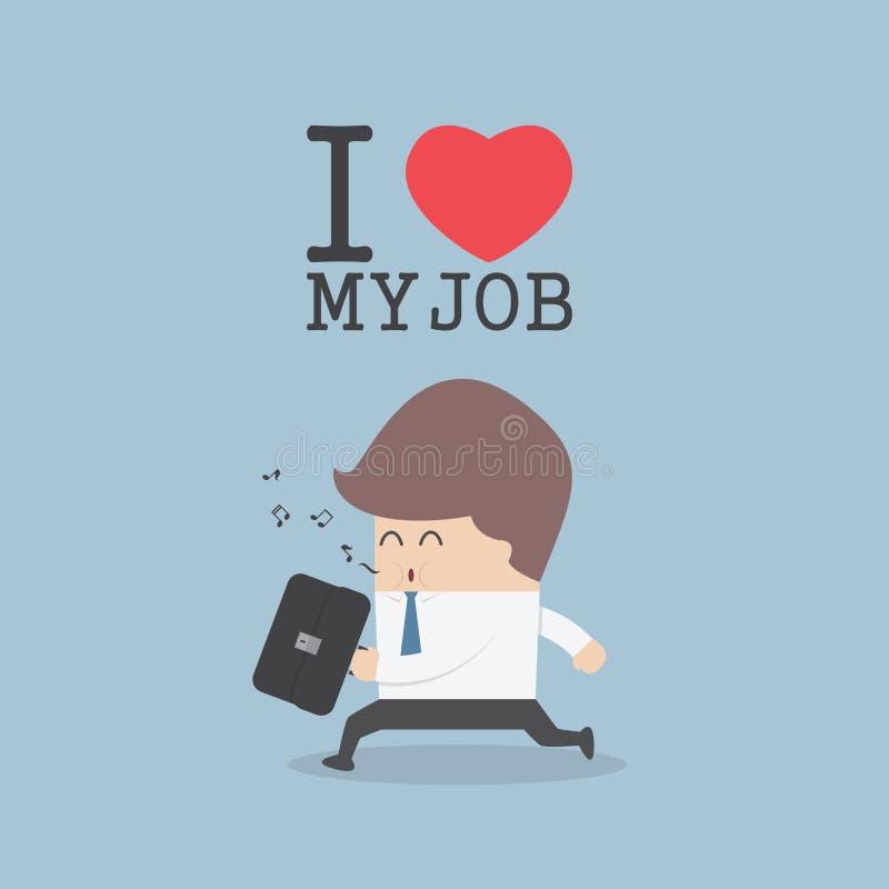 Homme d'affaires sifflant et heureusement tout en allant pour travailler J'aime le mon illustration libre de droits