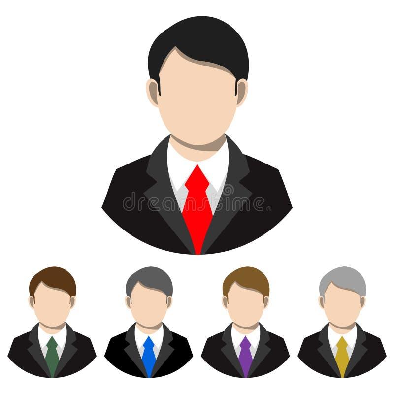 Homme d'affaires simple et plat dans un costume et avatar de lien Cinq variations illustration stock