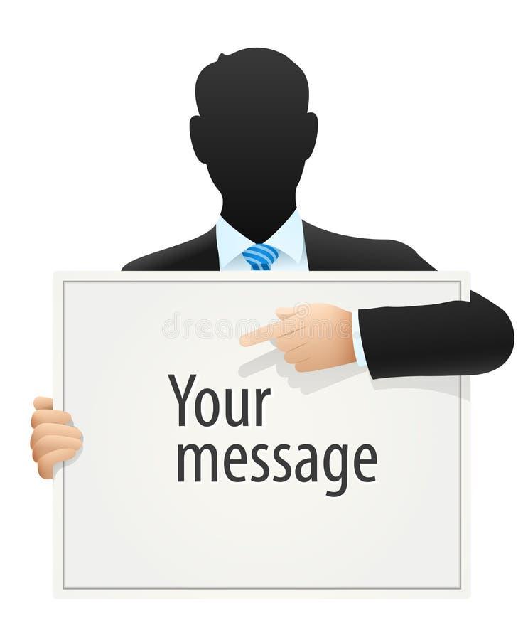 Homme d'affaires solide dans le costume indiquant le message de signe illustration stock