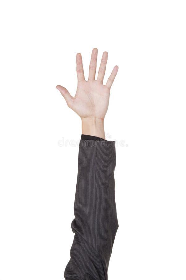 Homme d'affaires - soulevez votre main image stock