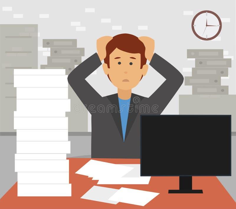 Homme d'affaires soumis à une contrainte dans la pile des papiers et des documents de bureau arrachant ses cheveux illustration libre de droits