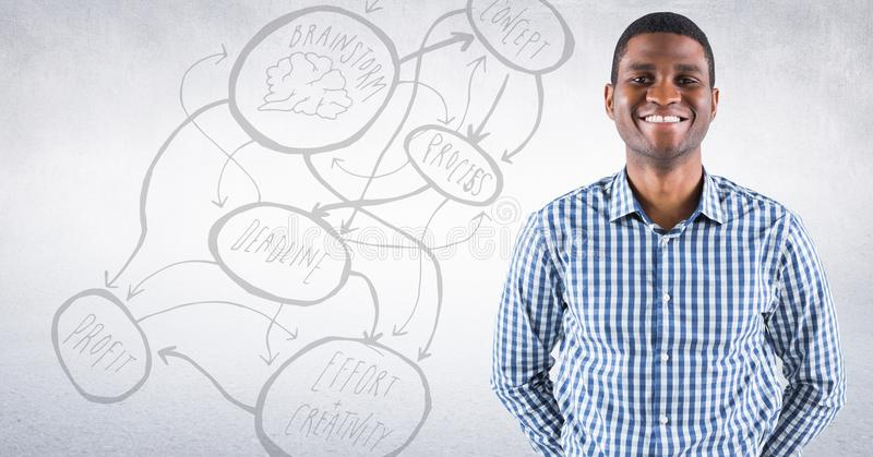 Homme d'affaires souriant contre le mur blanc avec le griffonnage de concept photos libres de droits