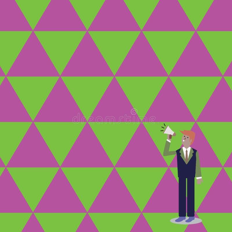 Homme d'affaires Standing, se tenant et parlant sur le mégaphone avec l'icône saine Homme dans le costume recherchant et parlant  illustration de vecteur