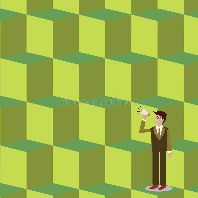 Homme d'affaires Standing, se tenant et parlant sur le mégaphone avec l'icône saine Homme dans le costume recherchant et parlant  illustration stock