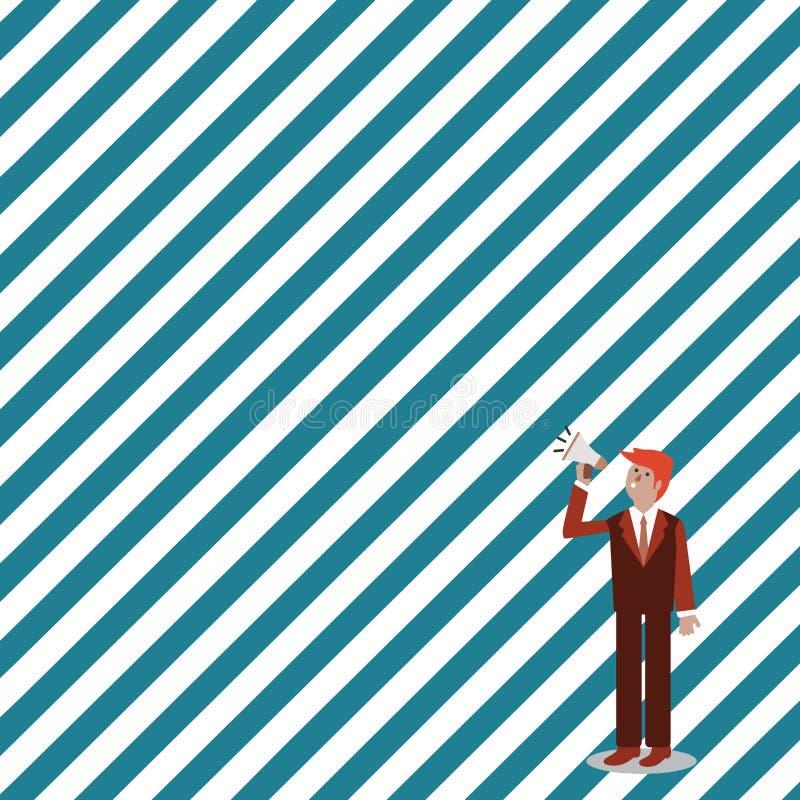 Homme d'affaires Standing, se tenant et parlant sur le mégaphone avec l'icône saine Homme dans le costume recherchant et parlant  illustration libre de droits