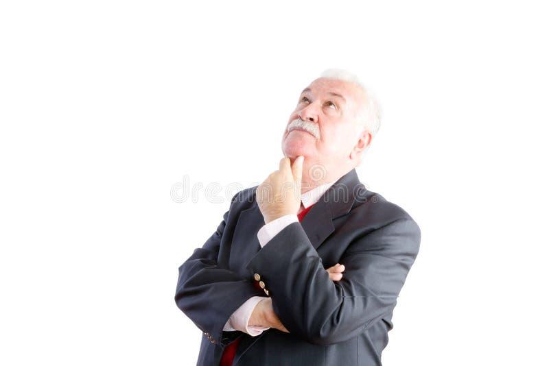 Homme d'affaires supérieur d'une chevelure blanc réfléchi photo stock