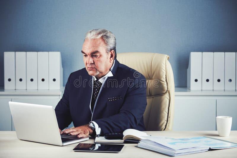 Homme d'affaires supérieur travaillant sur l'ordinateur portable dans le bureau photographie stock libre de droits