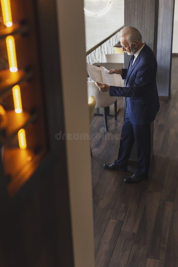 Homme d'affaires sup?rieur analysant la documentation images stock