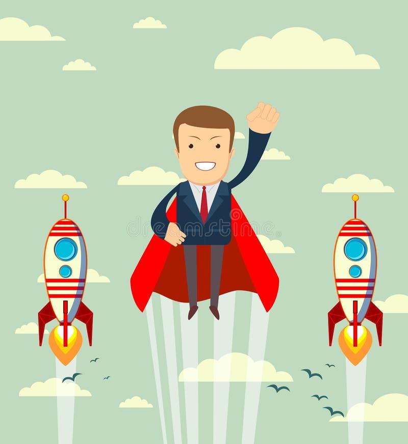Homme d'affaires superbe dans les caps rouges volant vers le haut à son succès illustration libre de droits