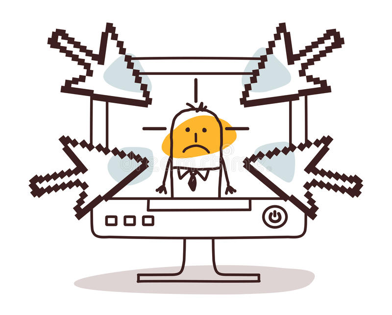 Homme d'affaires sur l'ordinateur et cyberbullying illustration stock