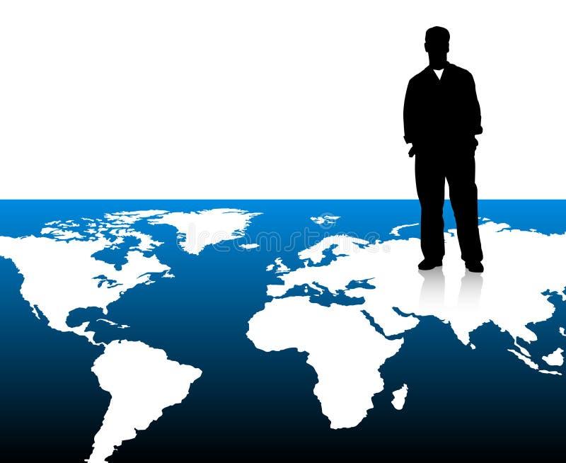 Homme d'affaires sur la carte du monde illustration stock
