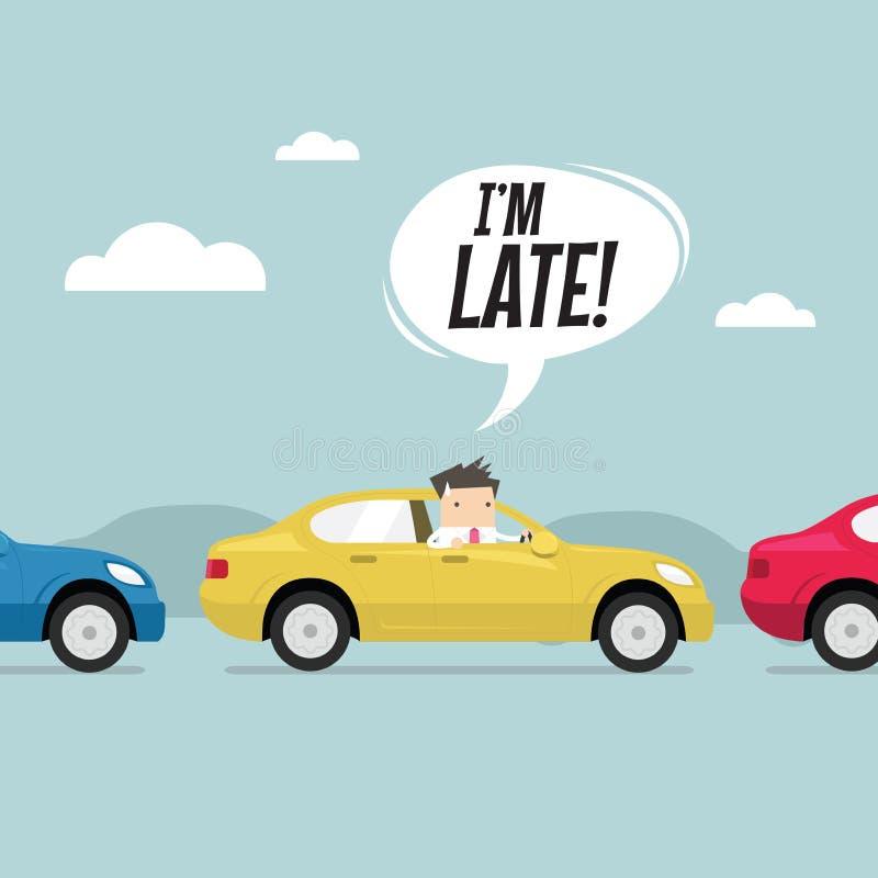Homme d'affaires sur la route avec l'embouteillage, tard pour le travail Vecteur illustration libre de droits