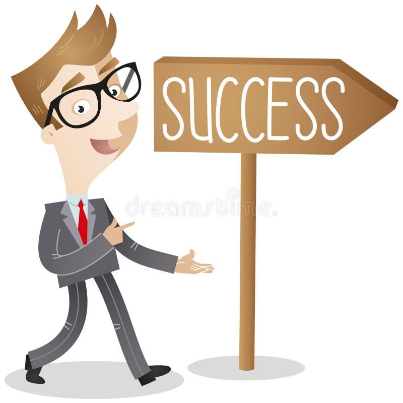 Homme d'affaires sur le chemin au succès illustration de vecteur