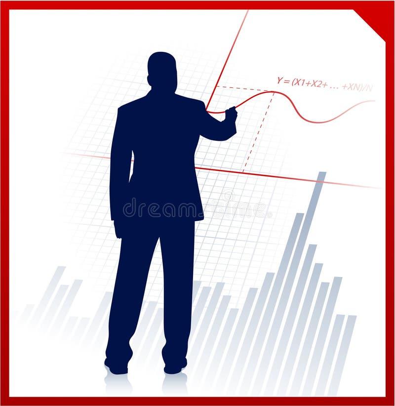 Homme d'affaires sur le fond avec l'équation financière illustration stock