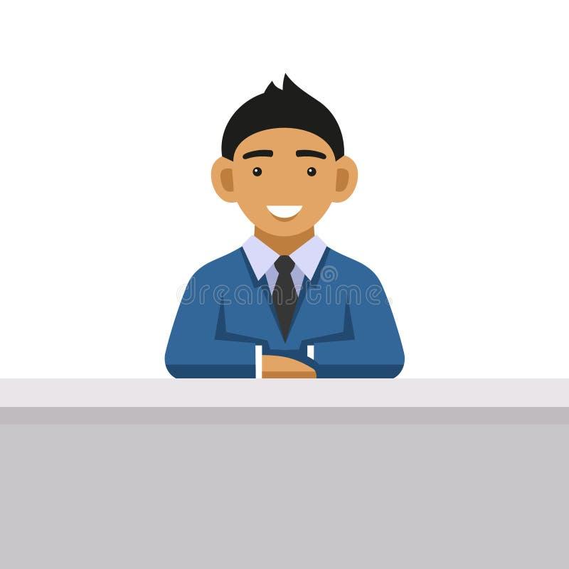 Homme d'affaires sur un bureau au bureau Vecteur illustration libre de droits