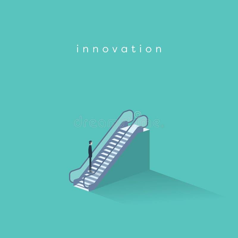 Homme d'affaires sur un escalator se relevant Symbole d'innovation d'affaires, de progrès de technologie et de créativité illustration libre de droits