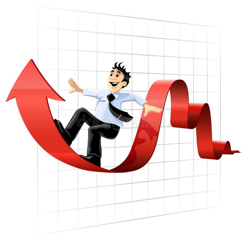 Homme d'affaires surfant sur la ligne de diagramme illustration stock