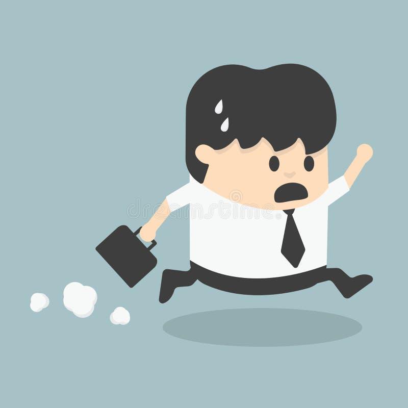Homme d'affaires tard pour le travail illustration stock