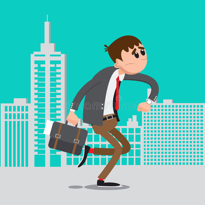 Homme d'affaires tard pour le travail Hâte d'homme à travailler illustration stock