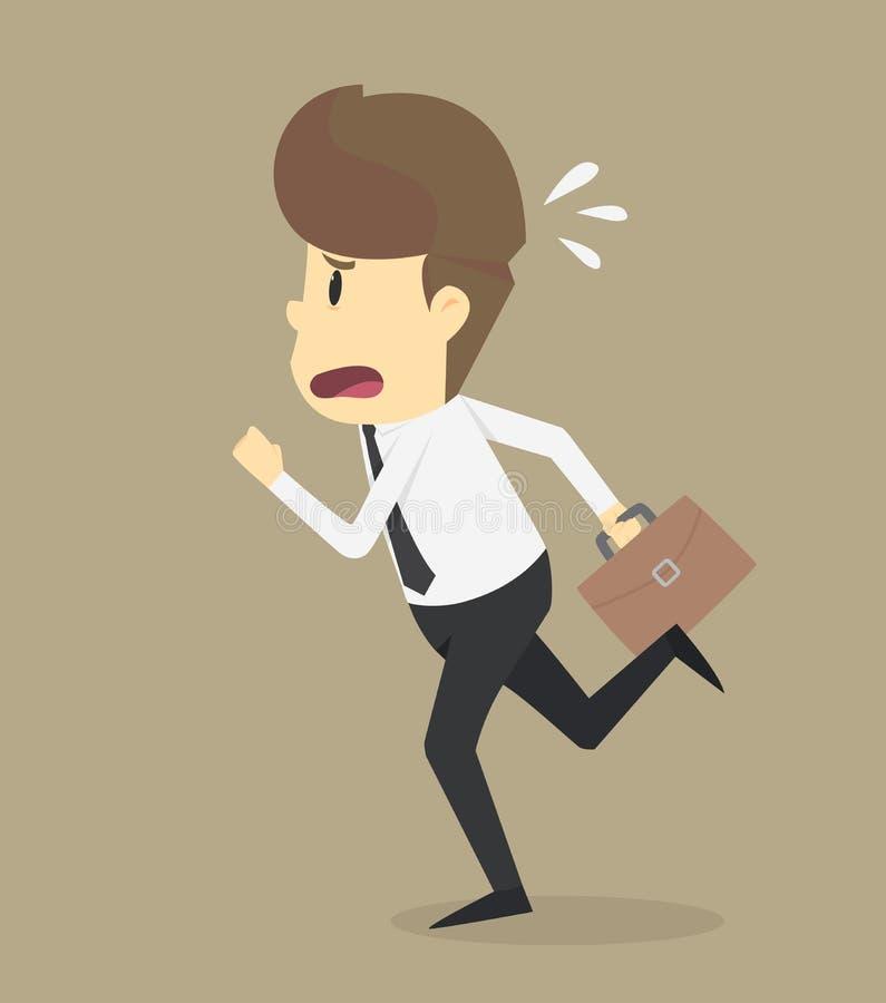 Homme d'affaires tard pour le travail Hâte d'homme à travailler illustration de vecteur