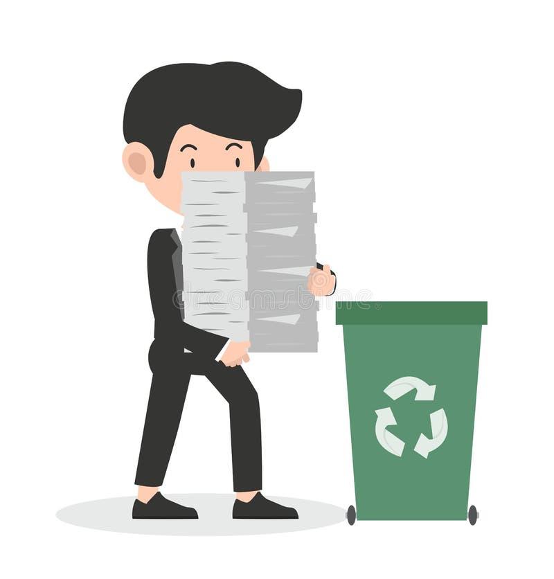 Homme d'affaires tenant des papiers réutilisant le concept illustration stock
