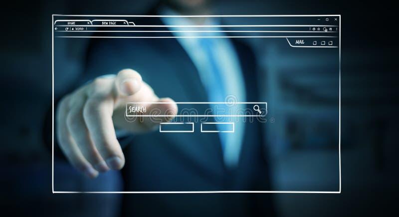 Homme d'affaires tenant et touchant un croquis de page de site Web illustration libre de droits