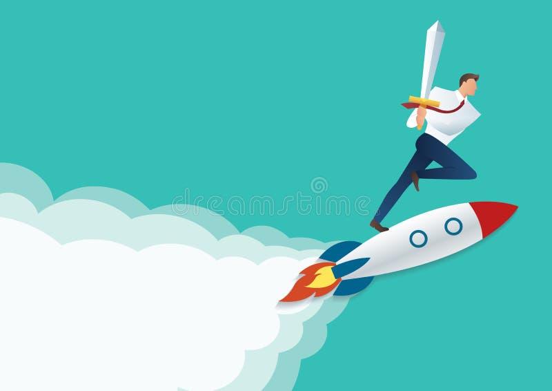 Homme d'affaires tenant l'épée sur la fusée de jet, concept d'affaires à l'illustration réussie de vecteur illustration stock