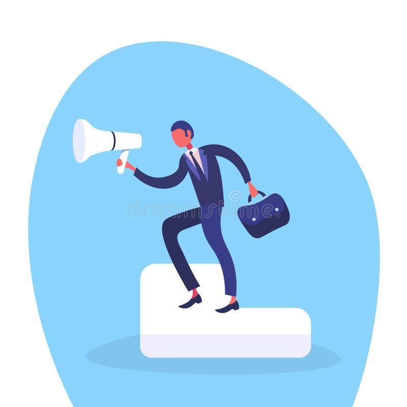Homme d'affaires tenant l'information de haut-parleur annonçant le personnage de dessin animé de meneur d'équipe d'homme de promo illustration de vecteur