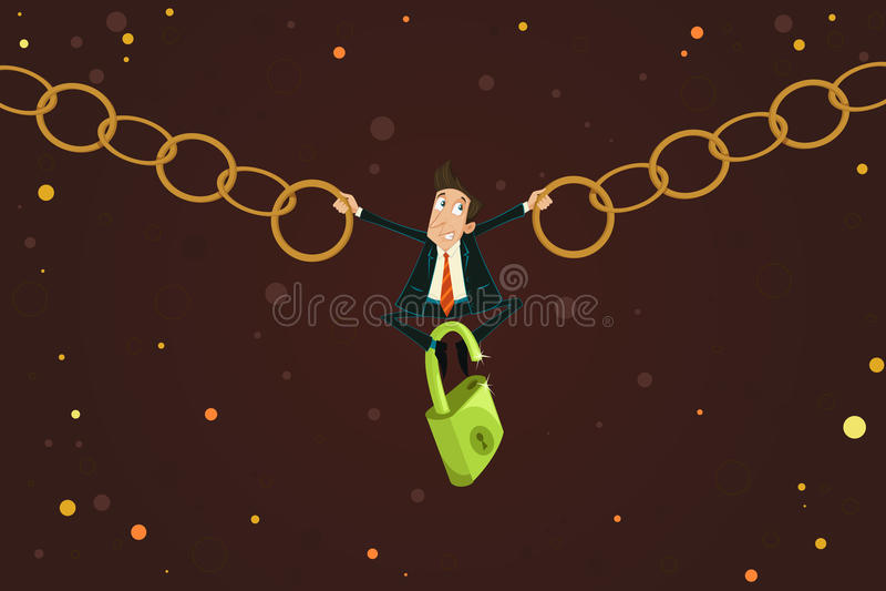 Homme d'affaires tenant la chaîne illustration de vecteur