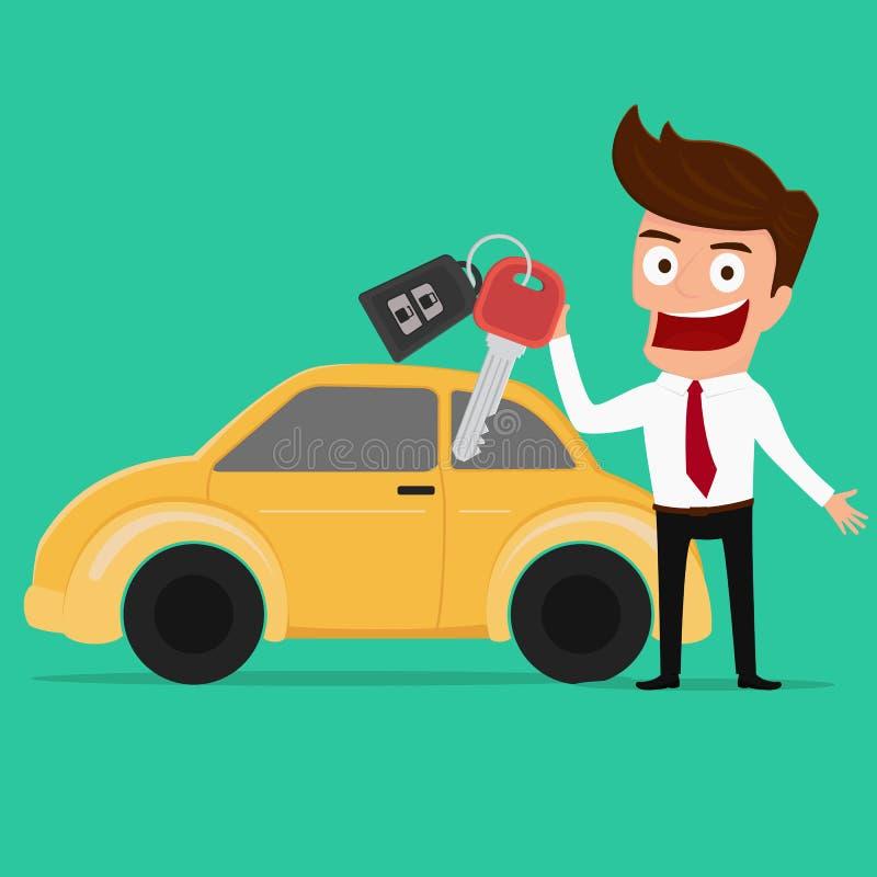 Homme d'affaires tenant la clé d'une nouvelle voiture illustration stock