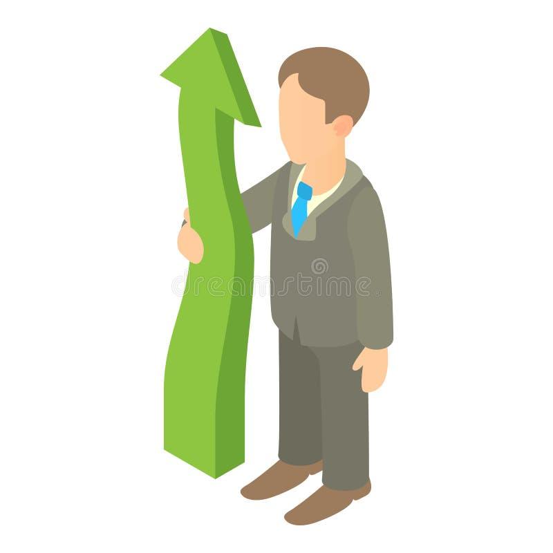 Homme d'affaires tenant la flèche verte vers le haut de l'icône illustration stock