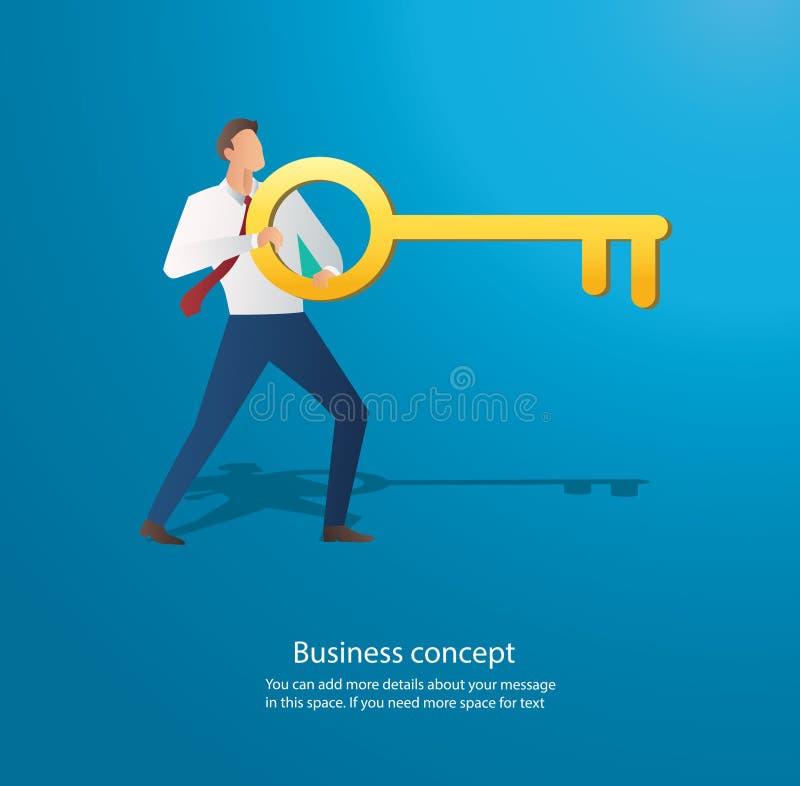 Homme d'affaires tenant la grande clé dans le trou de la serrure illustration libre de droits