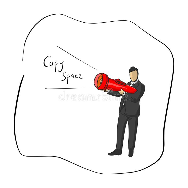Homme d'affaires tenant la lampe-torche avec l'illustratio de vecteur de copyspace illustration stock