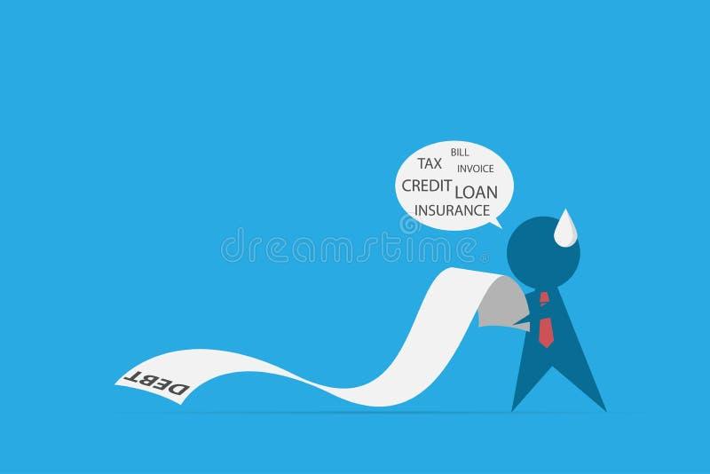 Homme d'affaires tenant la lettre de dette, concept d'affaires illustration de vecteur